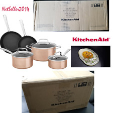 🔥 KitchenAid 8 Pc Hard Anodized Non Stick Cookware Cookware Set Toffee Delight