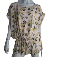 Loft Top Blouse Ruffle Flutter Sleeve Lined Peach Floral Women Size 2XL Peplum