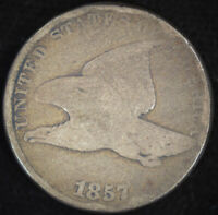 1857 Flying Eagle Cent, Good+ Condition, United States, Free Shipping, C4668