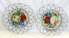 VINTAGE 50'S LOT TWO THAMES HAND PAINTED PLATES ORNATE WIRE PLATE HOLDER RACKS!