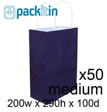 x50 PURPLE paper gift CARRY tote party BAGS with handles - MEDIUM (200 x 290mm)