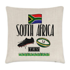 South Africa Rugby Linen Cushion Cover Pillow - Funny League Union Flag Sport