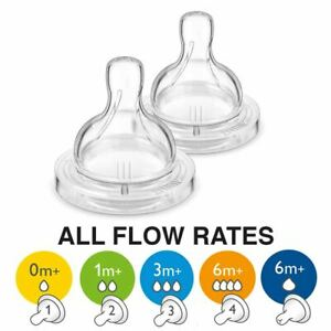 Philips Avent 2pcs Baby Anti-Colic Bottle Silicone Teat ALL SIZES / FLOW RATES
