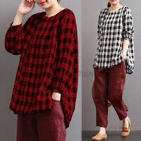 UK Women Check Plaid Long Sleeve Baggy Cotton Tops Shirt Blouse Tee Plus Size