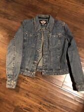 Harley Davidson Women's Embellished Jean Jacket Snap Studs Rhinestones Size S