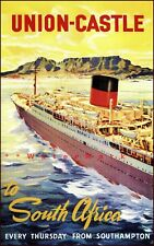 Union Castle To South Africa 1948 Ocean Liner Ship Vintage Poster Print Decor