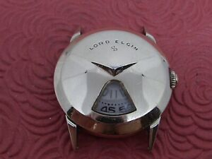 LORD ELGIN DIGITAL JUMPING HOURS YELLOW GOLD FILLED VINTAGE WRISTWATCH.
