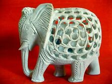 """5"""" Hand Carved Soapstone Elephant with baby inside!"""