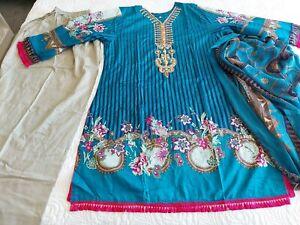 Pakistani designer Embrioded Lawn  suit STITCHED , xlarge ,  xL Shalwar Kameez