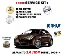 FOR ALFA ROMEO MITO 1.6 JTDM 2008-> NEW OIL AIR FUEL POLLEN 4 FILTER SERVICE KIT