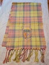 Mackenzie Childs Scarf / Table Runner Embroidered Crest Thistle Pink Fringe Rare