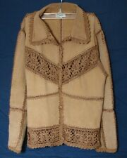 Vintage BOHO JACKET Carducci Crocheted Lace SUEDE Coat Tan Women Small