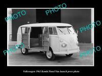 OLD POSTCARD SIZE PHOTO OF 1963 VOLKSWAGEN KOMBI PANEL VAN LAUNCH PRESS PHOTO 3