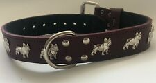 LEATHER FRENCH BULLDOG DOG COLLAR/1 1/4 INCH WIDE DOG COLLAR, REAL LEATHER