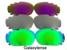 Galaxy Replacement Lenses For Oakley Racing Jacket Green&Titanium&Purple 3Pairs