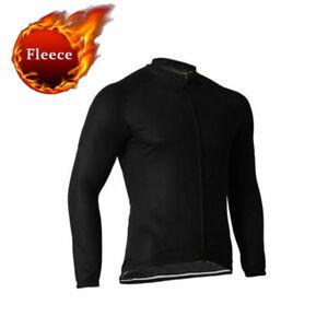 Black Men's Thermal Cycling Jersey Long Sleeve Winter Fleece Bike Cycle Jersey