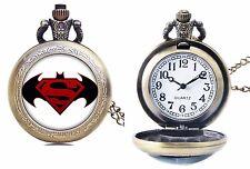 DC Comics Batman vs Superman Bronze Finish Pendant Pocket Watch