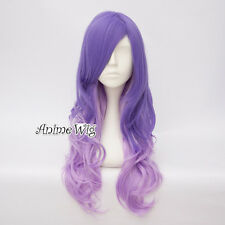 65CM Lolita Ombre Mixed Light Purple Long Curly Hair Bang Easter Cosplay Wig+Cap
