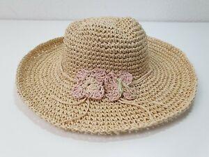 John Lewis Crochet Floppy Summer Sun Beach Hat With Corsage Size S 3-4 Years