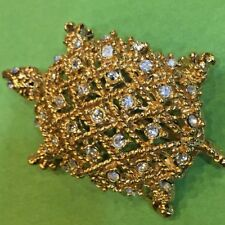 Vintage St John Gold Tone And Crystal Turtle Brooch Pin