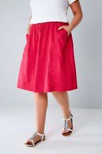 YOURS Linen Mix Tie Waist Midi Skirt Size 18-26 Uk BNWT RRP £27.98 Magenta Pink
