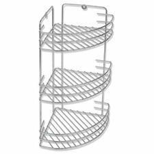 vidaXL 3-Tier Shower Corner Shelf Wall Mounted Metal Bathroom Organiser Basket