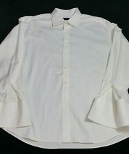 CANALI White Luxurious Cotton Spread Collar French Cuff Dress Shirt 46/18