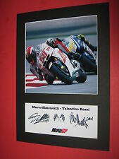 VALENTINO ROSSI MARCO SIMONCELLI A4 PHOTO MOUNT SIGNED REPRINT AUTOGRAPH MOTOGP