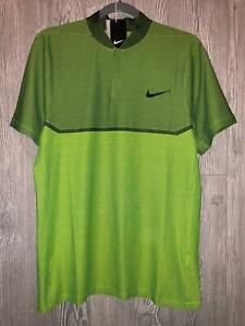 NIKE GOLF Momentum Fly Swing Knit Block Alpha Volt Green Black Polo Shirt Mens M