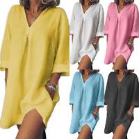 Womens Jumper Blouse Ladies Long Sleeve Loose Mini Dress Shirt Tops PlusSize