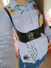 Lady Retro Wide High Waist Harness Adjustable Hollow Out Band Corset Multicolor