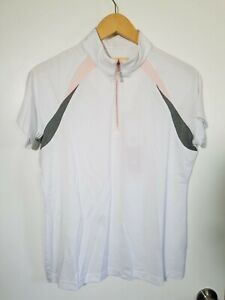 1 NWT SPORT HALEY WOMEN'S POLO, SIZE: LARGE, COLOR: WHITE/GRAY/PINK (J172)