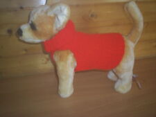 NEW  SMALL  8 INCH HAND  KNITTED DOG COAT/JUMPER RED CHIHUAHUA/TERRIER
