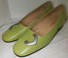 Max Mara Chic Green Low Heels With Silver Toe Buckle Women's size 39/ US 9
