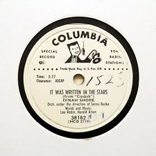 "DINAH SHORE ""It Was Written In The Stars"" (EE+) COLUMBIA PROMO RECORD [78 RPM]"
