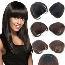 100% Real Human Hair Clip in Front Bangs Fringe Straight Hairpiece Neat Bangs
