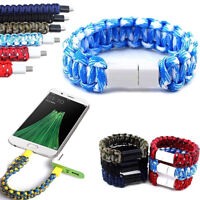 New Leather Braid Bracelet Band Micro USB Data Charger Cable For Cell Phone Gift
