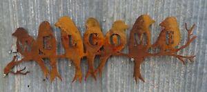 Birds WELCOME Metal Garden Art Rusty Wall Décor Sign Australian Made