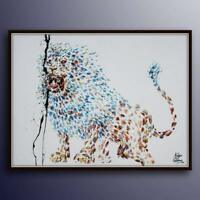 "Painting 40""  Lion, original handmade painting, animal art, by Koby Feldmos"