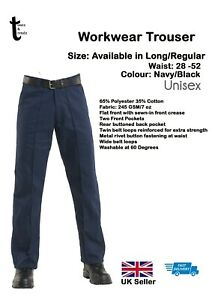 Pro Uneek UC901 Mens Drivers Work Trousers Pants Sewn In Crease Black Navy 28-52