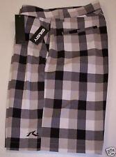 Rusty Men's Plaid CITY Shorts  Brown/Cream  Size 28   Brand New