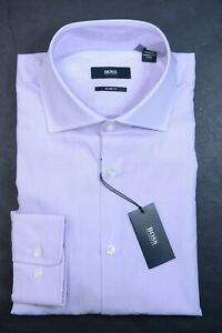 Hugo Boss Men's Miles Sharp Fit Pastel Purple Cotton Dress Shirt 43 17 34/35