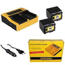 2x Batteria Patona + caricabatteria rapido DUAL LCD per Canon LEGRIA HF G25