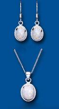 SOLITARIO OPALE ciondolo e parure orecchini argento sterling massiccio OVALE