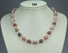 Red frosted dragon's vein agate bead & clear glass crystal necklace, silver caps