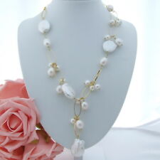 "AB052605 21"" White Keshi Pearl Necklace"