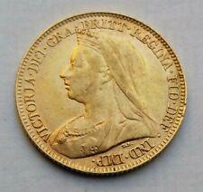 1897 Victoria Veiled Head Gold Half Sovereign Coin.