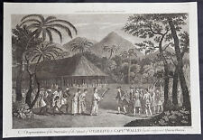 1784 Anderson Antique Print Capt Wallis & Queen Purea surrender, Tahiti in 1767