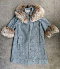 Vintage Flecked Wool Blin & Blin Fur Trimmed Trench Coat Jacket Blin et Blin