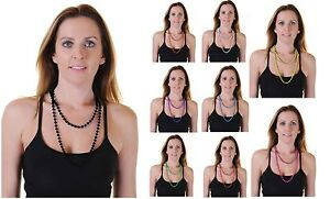 Women / Girls Plastic Bead Necklaces (Approx 48 Inches) Fancy Dress Accessories